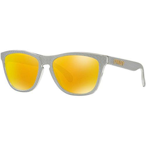 Oakley Mens Frogskins Non Polarized Iridium Square Sunglasses  Checkbox Silver  54 7 Mm