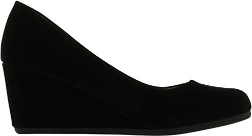 Forever Link Women's Patricia-02 Wedge Pumps Shoes,Black Suede,10 by Forever (Image #1)'