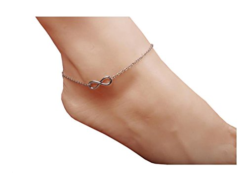 ANDYLE Charm Tassel Anklet Bracelet Foot Chain For Women Summer Sandal Jewelry (Silver)