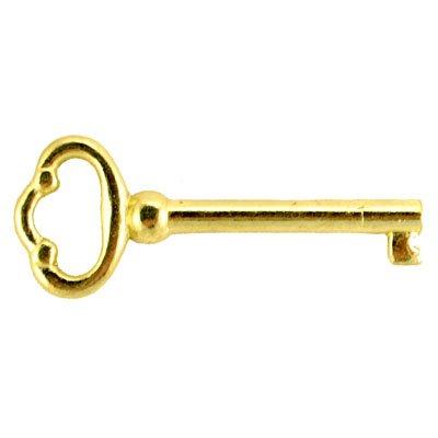 KY-2 Brass Plated Skeleton Key Barrel Antique Cabinet & Grandfather Clock Door Key Vintage Old Furniture + Free Bonus (Skeleton Key Badge) ()