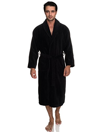 - TowelSelections Men's Robe, Turkish Cotton Terry Velour Bathrobe Large/X-Large Black