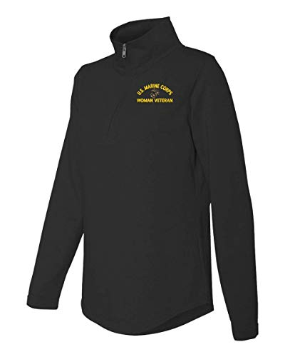 U.S. Marine Corps Eagle Globe and Anchor Woman Veteran Women's Quarter Zip French Terry Pullover Black