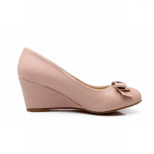 Carol Shoes Sweet Womens Charming Bowknots Polsino Moda Eleganza Cuneo Tacco Vestito Pompe Scarpe Rosa