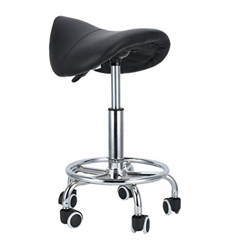 Homgrace Saddle Beauty Salon Rolling Swivel Stool, Tattoo Massage Facial Spa Adjustable Gas Lift Stool Chair for Massage Manicure Hairdressing (Black)