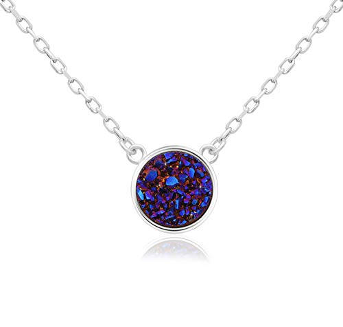 (KristLand - 925 Silver Necklace Simple Style Natural Druzy Round Rainbow Stone Pendant Adjustable Chain Purple Color)