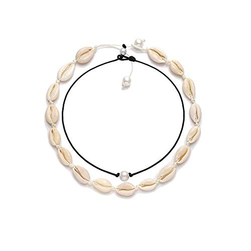 - BRIGHT MOON Shell Choker Necklace Pearl Choker Necklace Adjustable Statement Puka Chip Necklace Star Pendant Long Necklace(White Set)