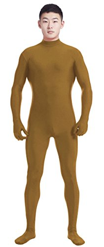 Ensnovo Mens Mock Neck Full Body Unitard Spandex Zentai Suits Costumes Brown L