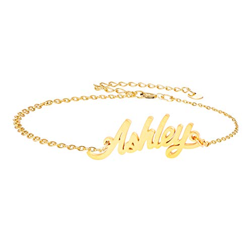 Ashley Silver Bracelets - AIJIAO Name Danity Bracelets for Womens Girls Jewelry Gifts Stainless Steel