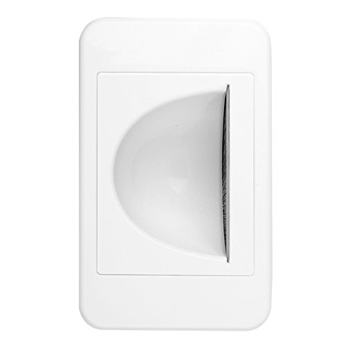 Audio Entry Panel - TNP Recessed Wall Plate - Single Gang Low Voltage Cable Entry Access Opening Port Wiring Plug Jack Decorative Face Cover Socket Insert Outlet Mount Panel (White)