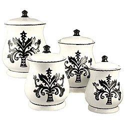 Tuscany Fleur De Lis, Just Black & White Ceramic 4-piece canister set 14-1/2