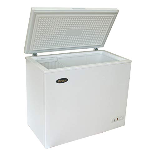 Commercial Top Chest Freezer - KITMA 9.6 Cu. Ft. Deep Ice Cream Freezer with Adjustable Thermostat, Compact Refrigerator, White(KWF-9010)