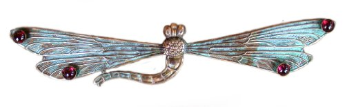 Verdigris Patina Solid Brass Dragonfly Pin - Garnet