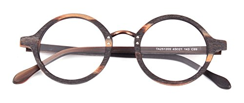 8655034a6e0 Agstum Retro Round Optical Handmade Glasses Wood Frame Rx (Multi-colored