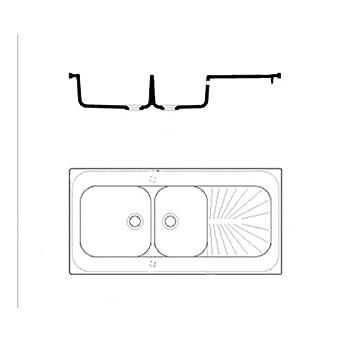 Biolab EVI 4550 - Fregadero de cerámica con 2 senos, 1 escurridor, 1200 x 600 x 900 mm
