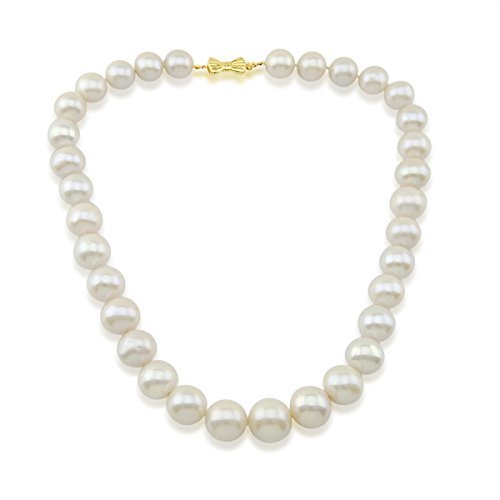 14K Yellow Gold 11-15mm White Freshwater Cultured Pearl Necklace 17 Inches Queen Style by Akwaya