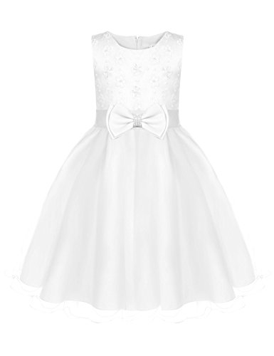 Fashion Belted - DonKap Fashion Flower Girls Dress Blue Belted Wedding Party Bridesmaid White 7-8Y