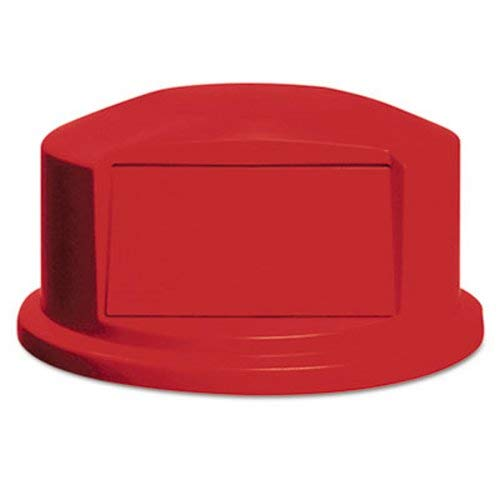 Rubbermaid Commercial Round Brute Dome Top w/Push Door, 24 13/16 x 12 5/8, Red - Includes one lid.
