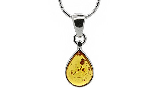 (925 Sterling Silver Drop Pendant Necklace with Genuine Natural Baltic Honey Amber. Chain included)