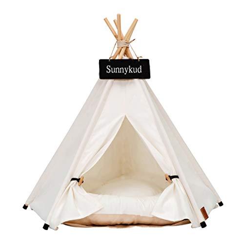 Sunnykud Tipi Zelt für Haustiere Hundezelt Katzenzelt Haustierzelte Häuser mit Kissen Abnehmbar und Waschbar…