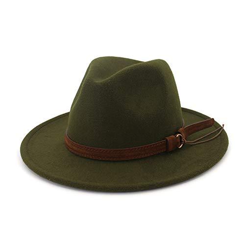(Lisianthus Men & Women Vintage Wide Brim Fedora Hat with Belt Buckle Olive)