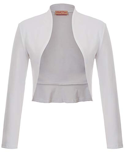 (1950s Vintage Long Sleeve Crop Cardigan with Ruffles (XL,White))