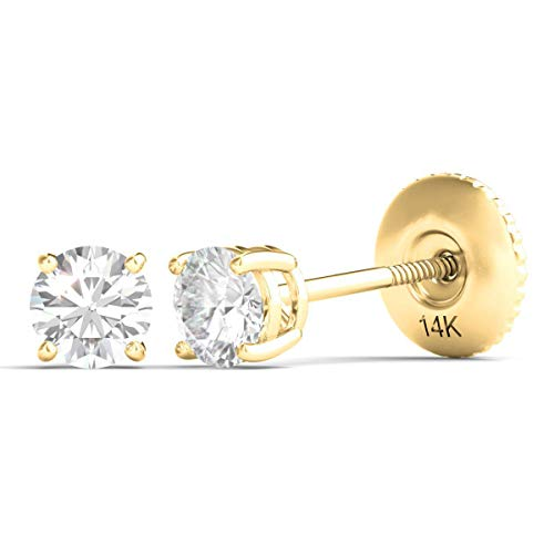 (Round Diamond Stud Earrings for Women Set in 14K Solid Yellow Gold with Screw Backs AGS Certified (I-J, SI1-SI2) (0.20))