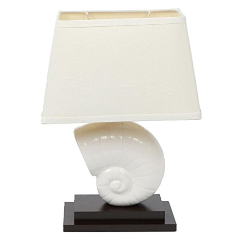 - Decorative Nautilus Shell Table Lamp With Linen Fabric Shade, White Ceramic Seashell and Dark Red Wood Base, for Bedroom or Living Room