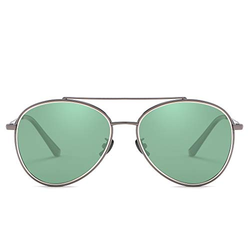 Sol Frame Color Gun UV400 Lens Gafas de Black de de Gray Lente Espejo Green clásicos Frame Gafas de Sol Hombre y Mujer Lens Sakuldes retrovisor wFBfPqf