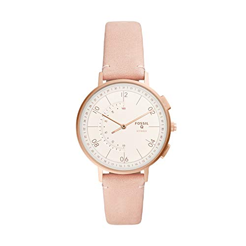 Fossil Women's 'Hybrid Smartwatch' Quartz Stainless Steel and Leather Watch, Color: Rose Gold/Nude (Model: FTW5029)