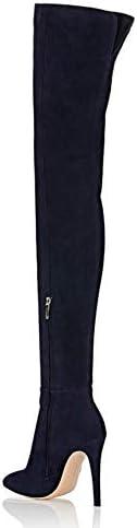 LLUVIAXHAN 12Cm Talon Haut sur Les Bottes Au Genou, Bottes De Cuisse en Cuir Suédé À Glissière Latérale pour Femmes pour La Vie Quotidienne Au Bureau, Noir,43