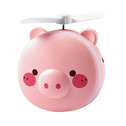 Unionm Rechargeable Fill Light LED Handheld Beauty Mirror Mini Cute Pig Fan Personal Desk Small Mobile Portable Pocket Fan for Computer Laptop Home Outdoor Indoor Travel (Pink-A)