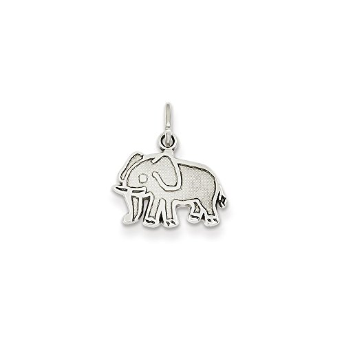 Brilliant Bijou Solid 14k White Gold Elephant Charm 17x14 mm - 14k Solid Gold Elephant Charm