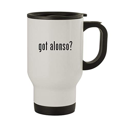 Fernando Alonso Helmet - got alonso? - 14oz Sturdy Stainless Steel Travel Mug, White