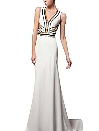 Amazon.com: Kingmalls Womens White Sleeveless Formal Prom