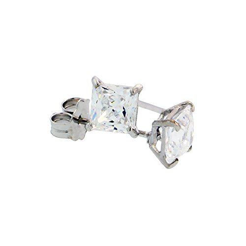 e Cubic Zirconia Earrings Studs 4 mm Princess cut Basket Setting 3/4 carats/pr ()