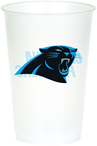 Nfl Cup Plastic Football (Creative Converting Officially Licensed NFL Printed Plastic Cups, 8-Count, 20-Ounce, Carolina Panthers)