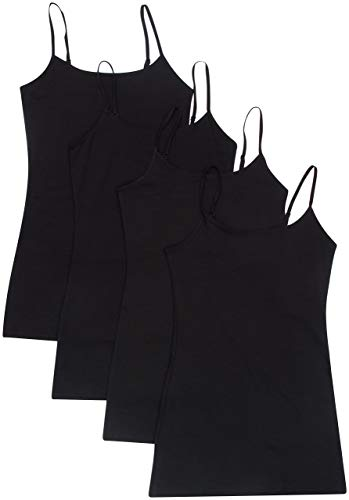 4 Pack Active Basic Women's Basic Tank Tops, Black/Black/Black/Black, M.