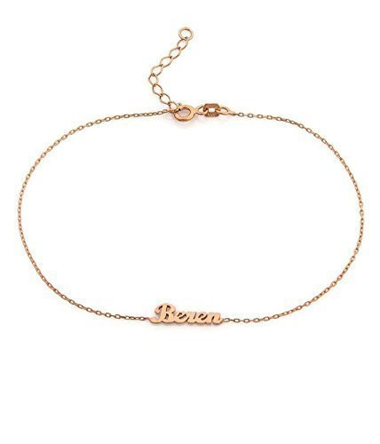 Personalized name anklet in 14k Gold, Rose Gold, White Gold