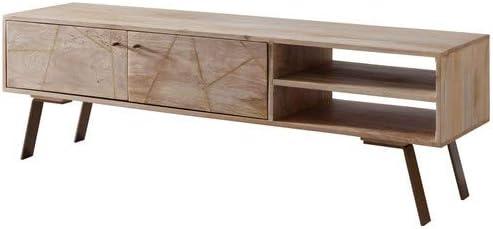 WOHNLING WL5.607 - Mueble bajo para televisor (Madera Maciza, 145 x 47 x 35 cm), Color marrón: Amazon.es: Hogar