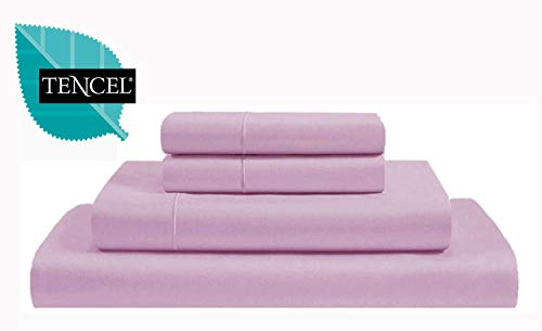 Jvin Fab Luxury 300 Thread Count - Tencel Cyber Deals - Lyocell Sheets 4 Piece Bed Sheet Set Deep Pocket 100% Tencel Natural Organic Silky Soft Bedsheets Pillow Cases Woven Sateen Queen Size - Lilac