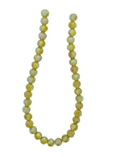 Tennessee Crafts 2670 Glass Light Amber Glass Beads Faceted Round Light Amber AB Finish 6mm Beads, 39-Piece