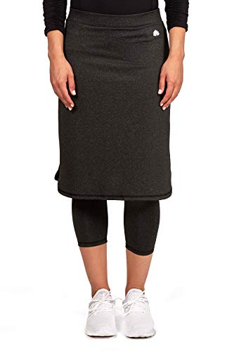 - Snoga Modesty Workout Athleisure Skirt with 3/4 Leggings - Black Heather, X-Small