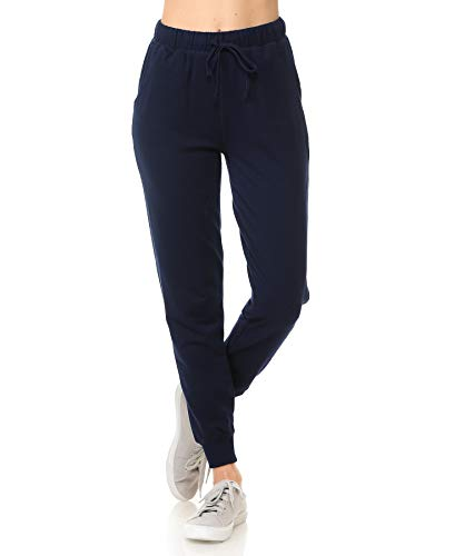 ClothingAve. Women's French Terry Jogger Pants, Pants Only - Navy, Small