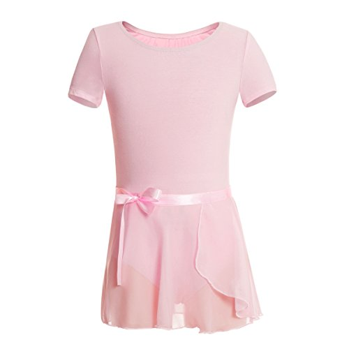 MAGIC TOWN Girls' Short Sleeve Dress Leotard Wrap-Round Skirt(4-6, Pink) - Darling Pink Skirt