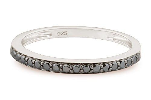 Brand New 0.22Ct Round Brilliant Cut Prong set Black Diamond Wedding Band, 10k White Gold, Size 8 by Prism Jewel