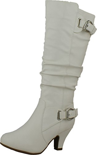 Top Moda Womens Bag-55 Knee High Buckle Slouched Kitten Heel Boots, White 7.5 (White Boot Tops)