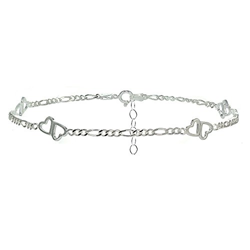 Sterling Silver Figaro Chain with Double Heart Anklet (9 Inch Adjustable Linked Bracelet)