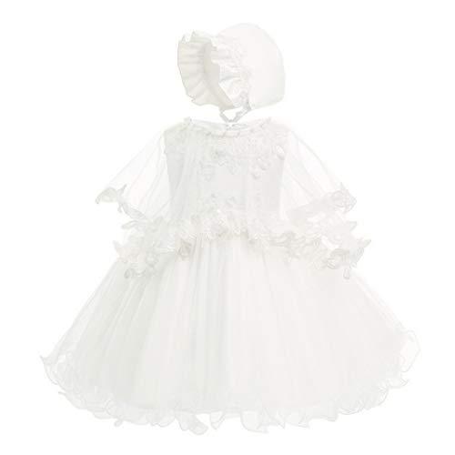 HX Baby Girl's 3 Piece Christening Baptism Dresses with Cape Bonnet 3 Color (24M/18-24 Months, White)