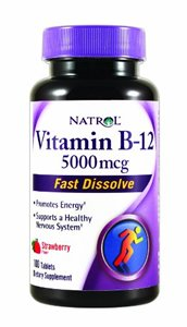 Natrol Vitamin B-12 5000mcg Fast Dissolve Tablets, Strawberry 100 ea (Pack of 6) by Natrol