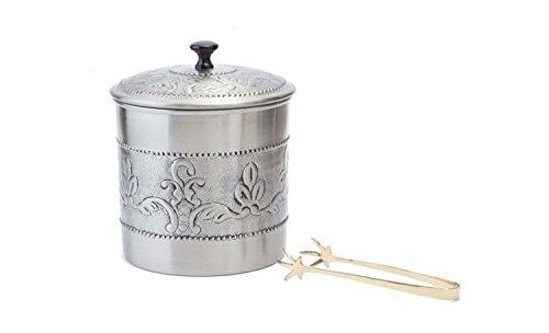 Old Dutch 7 Dia x 9 H Ant EmbVictoria Ice Bucket w/ Brass tongs 3 Qt